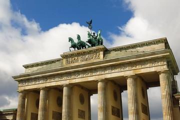 Detail of Brandenburg Gate in Berlin, Germany Pariser Platz sunny day