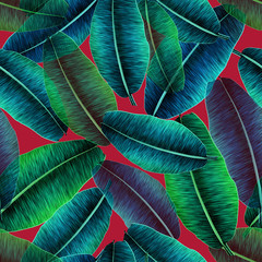 Transparent tropical banana leaves, jungle leaf seamless floral pattern red background. Artistic palms pattern with seamless repeating design. Pattern for summer designs.