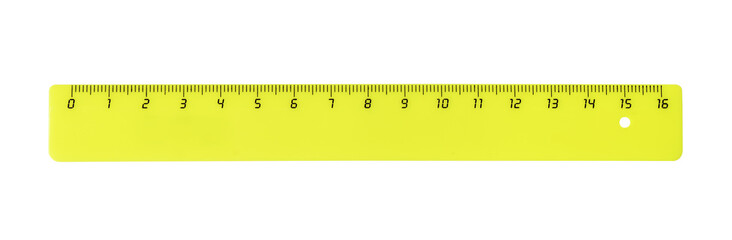 Horizontal yellow plastic ruler