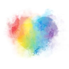 Gentle Watercolor art rainbow heart