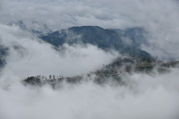 Wall Murals Lake The mountain with cloud and mist in rainy season at Phu tub berk , Petchaboon , Thailand