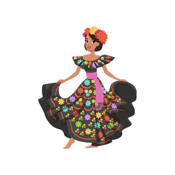 Young beautiful mexican woman in black traditional national dress vector Illustration on a white background