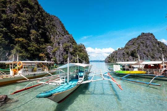 Philippines, Palawan, Coron, Banca boats