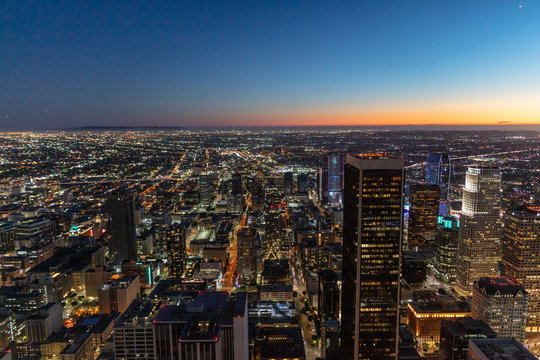 USA, California, Los Angeles, cityscape at blue hour