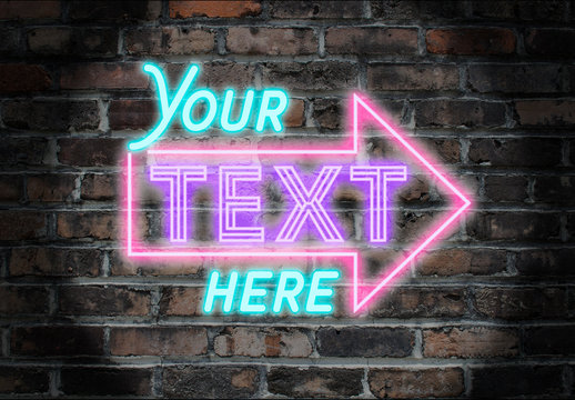 Neon Font Style Layout with Arrow