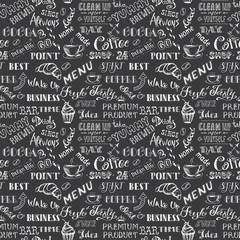 Seamless pattern background with coffee sign and letters
