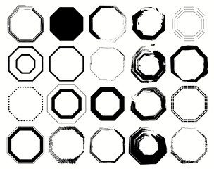 Black and white Octagon Pack 20 in 1. Vector illustration