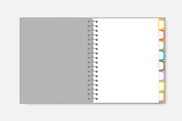 Open spiral notebook with colorful divider tabs, vector mockup. Wire bound white blank diary with bookmark pages letter size, template