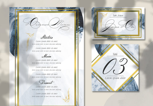 Watercolor and Marble Elegant Wedding Table and Menu Set