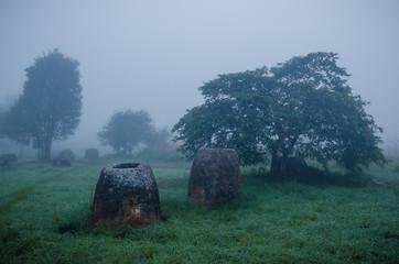 A field of jars in Phonsavann, Laos