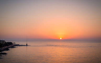Sunset over Beirut sea front and the Mediterranean sea, Lebanon