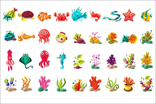 Sea creature big set, colorful cartoon ocean animals, plants and fishes vector Illustrations on a white background