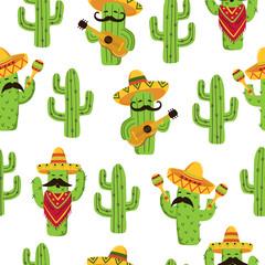 Fototapeta Mexican cactus seamless pattern. Cute cactus with guitar, sombrero, maracas. obraz