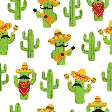 Mexican cactus seamless pattern. Cute cactus with guitar, sombrero, maracas.