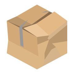 Crushed Cardboard Box Vector