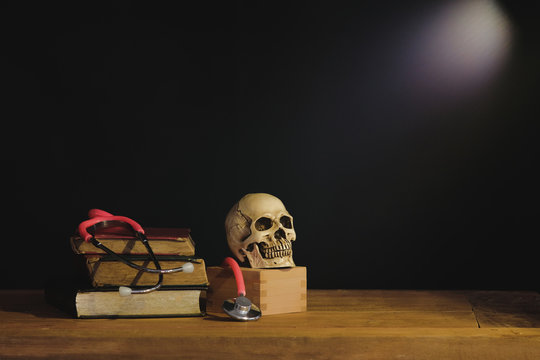 Still life painting photography with human skull on text book.