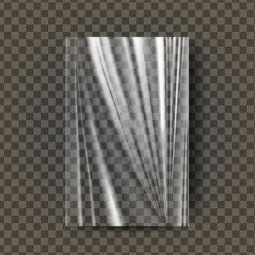 Plastic Polyethylene Vector. Transparent Cellophane Glossy Wrap. Empty Sack Product Canvas Mock Up Template. Nylon Texture Illustration