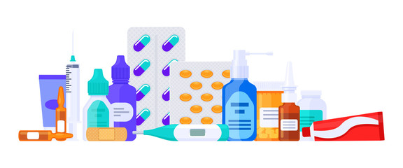 Different types of medicaments, drugs, pills and bottles. Flat vector illustration isolated on white. Healthcare items.