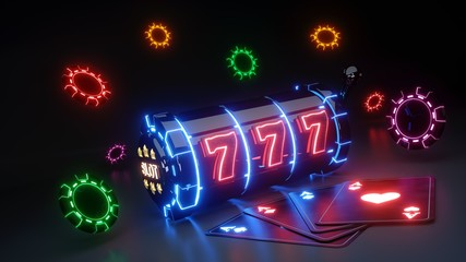 Gambling Slot Machine and Chips Concept With Colorful Neon Lights Isolated On The Black Background - 3D Illustration