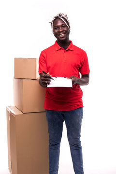 Delivery Concept. Portrait of Handsome African American delivery man or courier showing a confirmation document form to sign isolated on white background