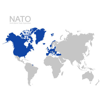 vector world map with nato member state