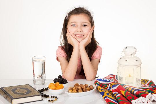 Greeting Card : Happy young Muslim girl in Ramadan