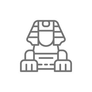 Egyptian Sphinx line icon.