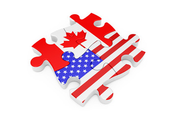 USA and Canada Cooperation Puzzle as Flags. 3d Rendering