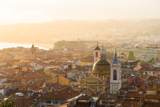 View of Nice cityscape during sunset, France