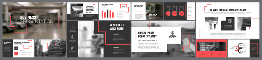 Grey and yellow finance or management concept infographics set