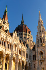 Hungarian Parliament Building against blue sky