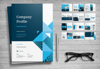 Company Profile Layout with Blue Accents
