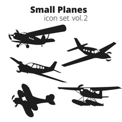 Small planes vector illustration set. Single engine propelled passenger aircraft.