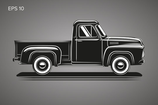 Old retro pickup truck vector illustration. Vintage transport vehicle