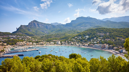 Wall Mural - Panoramic view of Port de Soller, Mallorca, Spain.