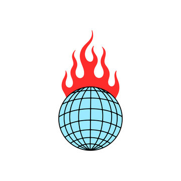 GLOBE IN FIRE COLOR WHITE BACKGROUND