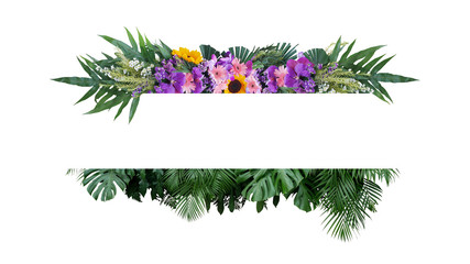Wall Mural - Tropical leaves foliage plant bush with colorful flowers floral arrangement nature frame banner on white background.