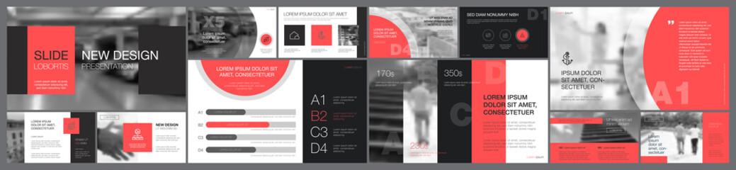 Pink and black marketing or management concept infographics set