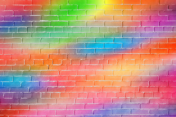 Bright rainbow colored brick wall