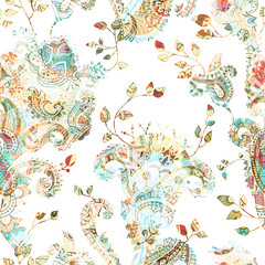 Fotobehang Botanisch Jacobean seamless pattern. Flowers background, ethnic style. Stylized climbing flowers. Decorative ornament backdrop for fabric, textile, wrapping paper, card, invitation, wallpaper, web design