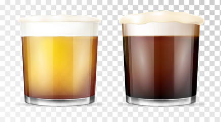Beer glass. Transparent cup.