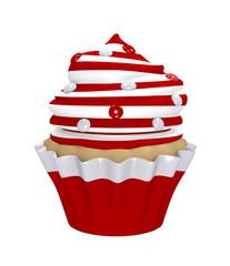 Cupcake mit Sahnehaube aus roten und weißen Ringen mit Smarties.