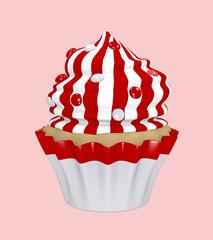 Cupcake mit Sahnehaube aus roten und weißen Streifen mit Smarties.
