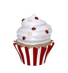 Schokoladen Cupcake im gestreiften Förmchen mit Sahnehaube und Schoko Smarties.