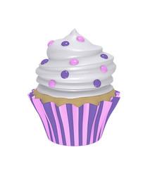 leckerer Cupcake in lila-rosa gestreiften Förmchen mit Sahnehaube und Smarties.