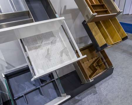 samples of furniture drawers on the exhibition stand