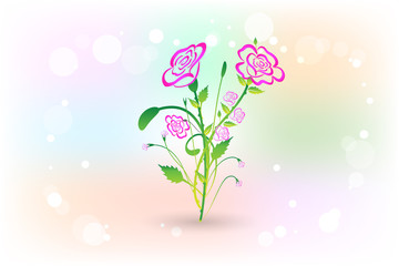 Flowers pink roses vector design