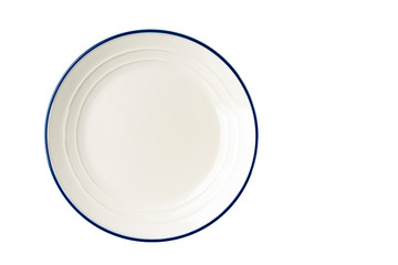White plate with a blue stripe on the edge.