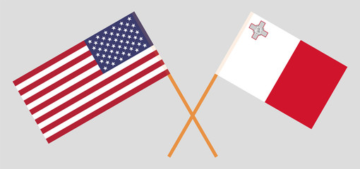 Malta and USA. The Maltese and United States of America flags. Official colors. Correct proportion. Vector