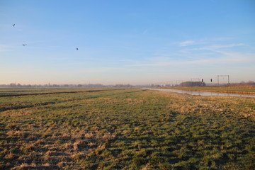 Fields in the cold in the lowest area of the Netherlands named the Zuidplaspolder in Moordrecht close to Gouda